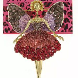 Betsey Johnson Enamel Crystal Ballet Girl Brooch